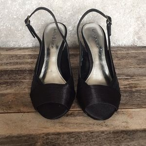 Kelly & Katie black satin 3.5 inch heeled sandal